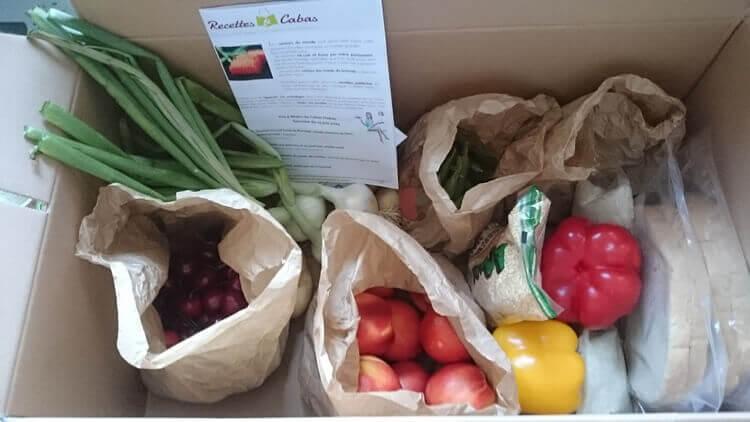 Box à cuisiner avec légumes de recettes et cabas