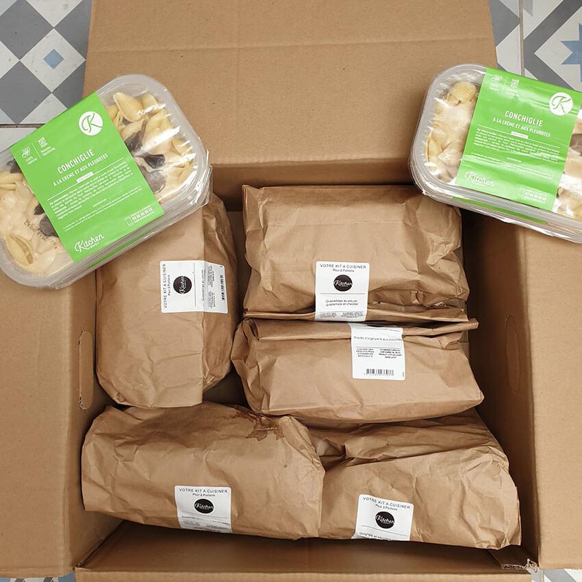 Emballage et carton pour la livraison de kitchendaily un peu trop de plastique